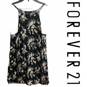 🍂F21 Black Floral Sleeveless Dress/Tank Sz M